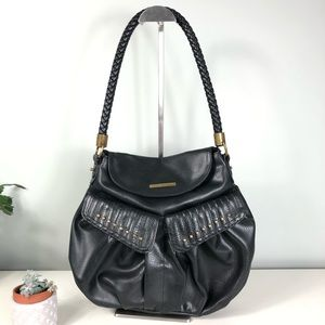 Matt & Nat Vegan Leather Black Hobo Brass Detail